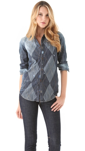 DSQUARED2 Aristocrat Argyle Denim Shirt