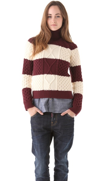DSQUARED2 Stripe Cable Turtleneck Sweater