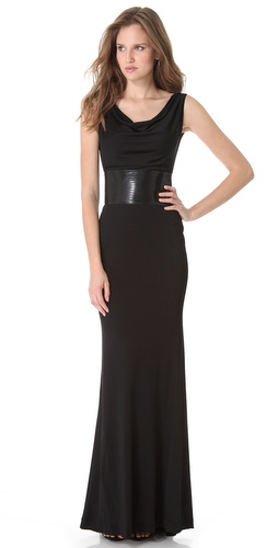 Shop DSQUARED2 Draped Jersey Gown with Patent Belt and DSQUARED2 online - Apparel, Womens, Dresses, Black_Tie,  online Store