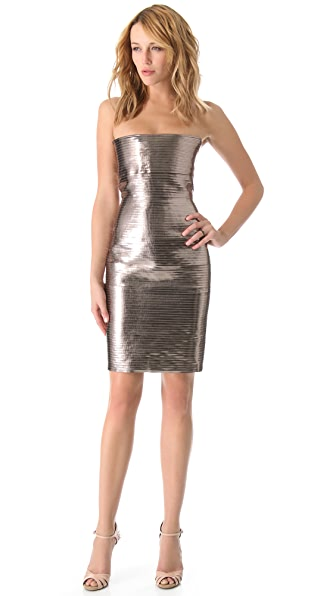 DSQUARED2 Pieced Rib Shine Strapless Dress