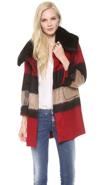 DSQUARED2 Olga Fur Collar Coat