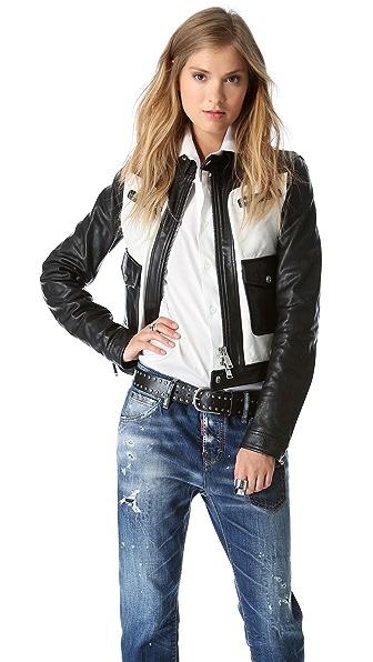 DSQUARED2 Ginger Biker Leather Jacket