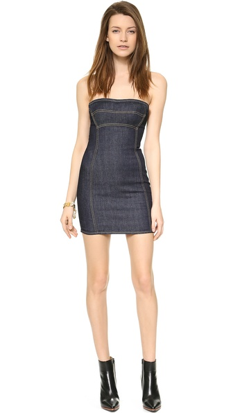 Dsquared2 Strapless Denim Dress - Dark Wash