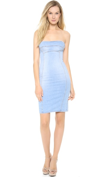 Dsquared2 Strapless Denim Dress - Clean Super Fade Wash