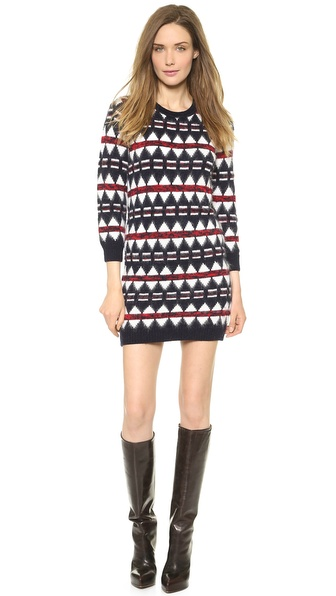Kupi DSQUARED2 haljinu online i raspordaja za kupiti Fuzzy angora adds a cozy texture to this intarsia DSQUARED2 sweater dress. Crew neckline. Ribbed edges. Long sleeves. Unlined. Fabric: Soft, fuzzy mid weight knit. 65% wool/30% angora rabbit hair/5% polyamide. Hand wash or dry clean. Made in Italy. Measurements Length: 31in / 79cm, from shoulder Measurements from size S. Available sizes: L,M,S,XS
