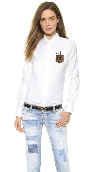DSQUARED2 Rounded Collar Long Sleeve Shirt
