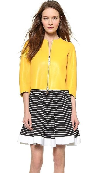 Кожаная куртка с длинными рукавами DSQUARED2. Цвет: желтый
