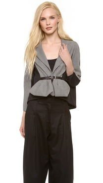 David Szeto Belted Peplum Jacket