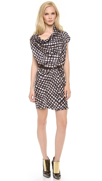 David Szeto Linda Cowl Neck Dress