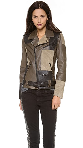 EACH x OTHER Thomas Lelu Patchwork Biker Jacket