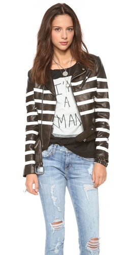 EACH x OTHER Naco Striped Leather Biker Jacket