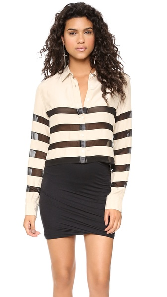 EACH x OTHER Striped Cropped Shirt