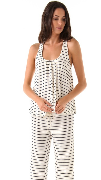 Eberjey Coastal Stripes Racer Back Tank