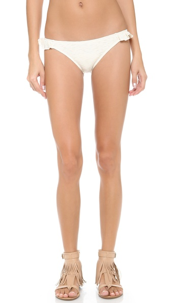 Shop Eberjey online and buy Eberjey El Mirage Antonia Bikini Bottoms Natural - Playful ruffles detail the sides of Eberjey bikini bottoms. Ruching at the back provides a flattering fit. Lined. Shell: 57% nylon/28% elastane/15% polyester. Lining: 90% nylon/10% elastane. Hand wash. Made in the USA. Available sizes: L,M,S