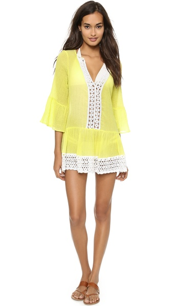 Shop Eberjey online and buy Eberjey Sea Breeze Cover Up Citrus Glow - Breezy gauze composes this beach ready Eberjey cover up. Floral crochet detailing cuts through the front and trims the hem. Half sleeves. Sheer. Fabric: Gauze. 100% cotton. Hand wash. Made in the USA. MEASUREMENTS Length: 29in / 73.5cm, from shoulder. Available sizes: M/L,S/M
