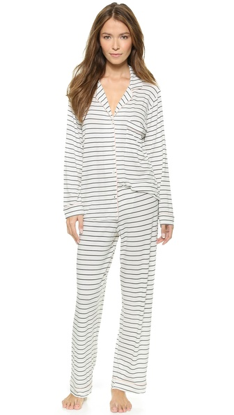 Eberjey Sleep Chic Pj Sets - Graphite Stripes