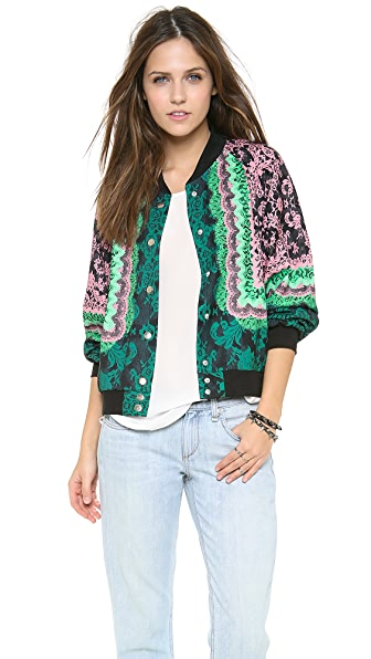 Emma Cook Lace Print Bomber Jacket