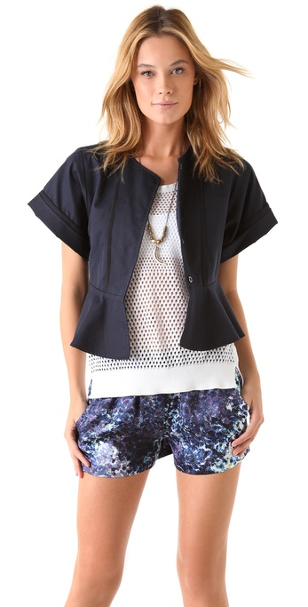 EDUN Short Sleeve Peplum Jacket