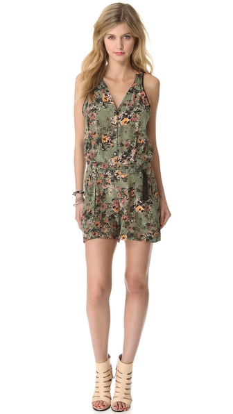 EDUN Etched Poppies Print Romper
