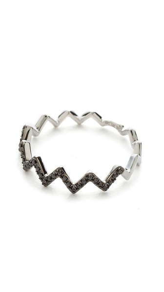 EF Collection Pave Diamond Zigzag Stack Rings