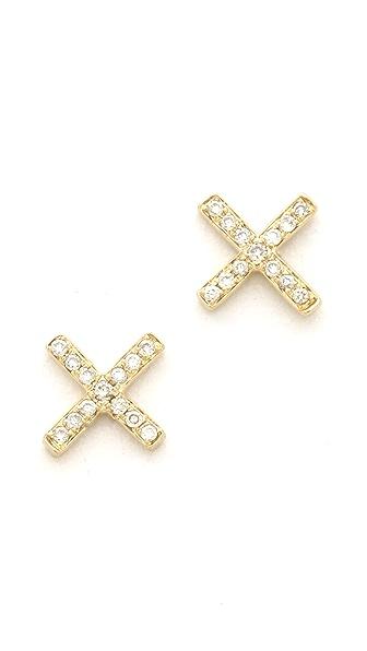 EF Collection Pave Diamond X Stud Earrings