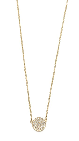 EF Collection Medium Pave Diamond Disc Necklace