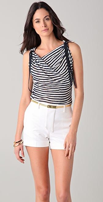 Elie Tahari Molly Striped Linen Top