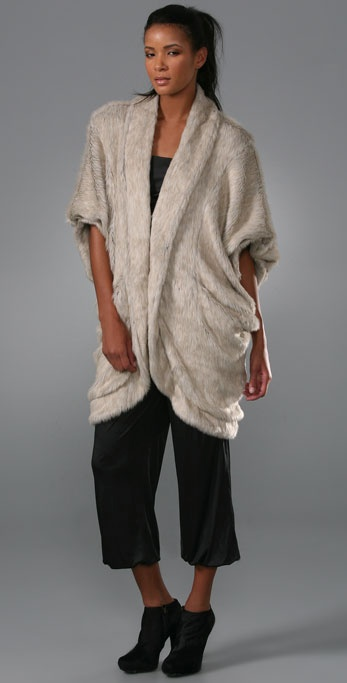Elizabeth and James Faux Fur Cocoon Shrug