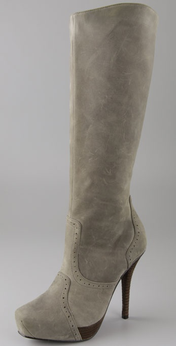 Elizabeth and James Franky Suede Square Toe Boots on Hidden Platform