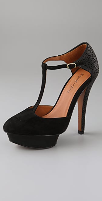 Elizabeth and James Paris Suede T Strap Pumps