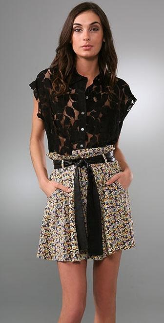 Elizabeth and James Lace Sleeveless Boyfriend Shirt