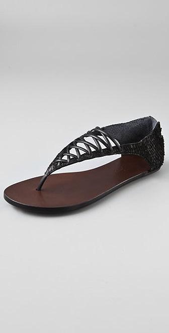 Elizabeth and James Slam Lace Up Flat Sandals
