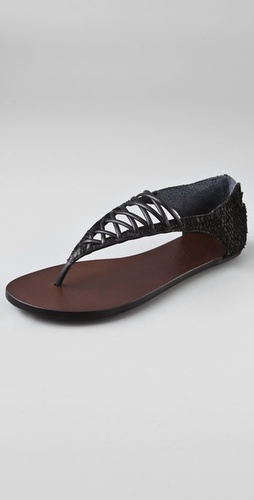 Elizabeth and James Slam Lace Up Flat Sandals