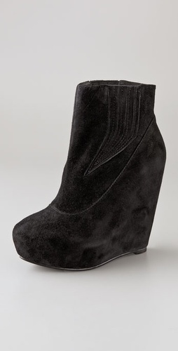 Elizabeth and James Score Suede Wedge Booties