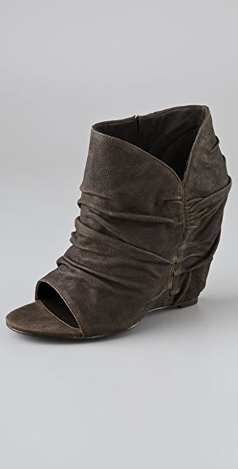 Elizabeth and James Stack Draped Wedge Booties