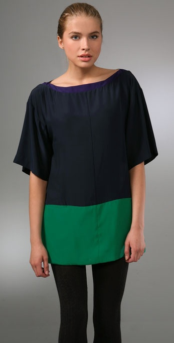 Elizabeth and James Blocked Silk Tunic
