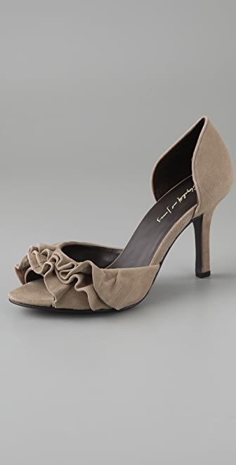 Elizabeth and James Stella Ruffled Suede Pumps