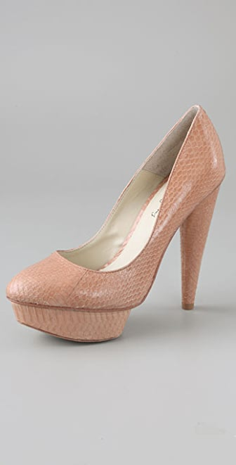 Elizabeth and James Mason Snake Platform Pumps