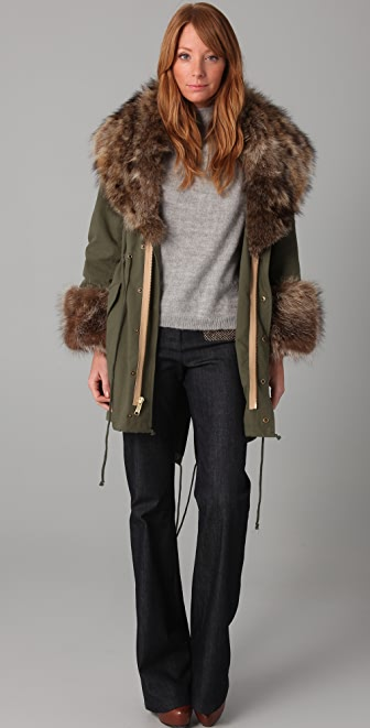 Elizabeth and James Military Parka with Fur Trim