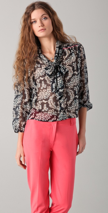 Elizabeth and James Ikat Maddie Tie Neck Blouse