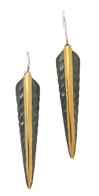 Elizabeth and James Feather Drop Earrings