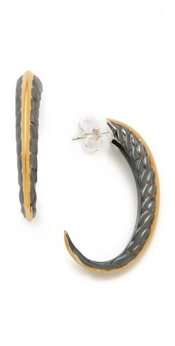 Elizabeth and James Feather Large Hoop Earrings