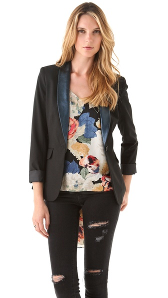 Elizabeth and James Metallic Leather Lapel Blazer