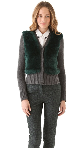 Elizabeth and James Fur Front Cardigan Sweater