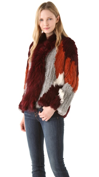 Elizabeth and James Bianca Colorblock Fur Jacket