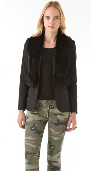 Elizabeth and James Double Rex Blazer with Fur Vest