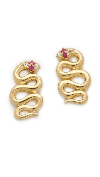 Elizabeth and James White Sapphire & Ruby Meadowlark Snake Stud Earrings