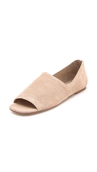 Elizabeth and James Pax Suede Peep Toe Flats