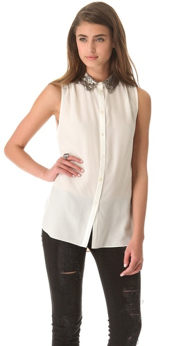 Shop Elizabeth and James Julian Blouse and Elizabeth and James online - Apparel,Womens,Tops,Blouse, online Store