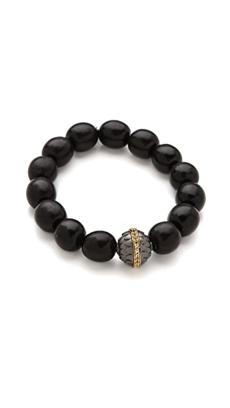 Elizabeth and James Shaman Beaded Bracelet with Textured Metal Bead